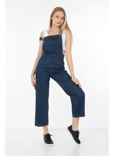 Rodi Jeans Kadın Denim Askılı Salopet DS21YB183516 Mavi